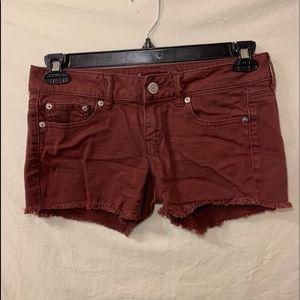American eagle size 4 burgundy mini shorts
